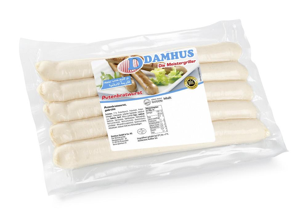 Damhus Putenbratwurst, 5x100g, EWS-Hülle