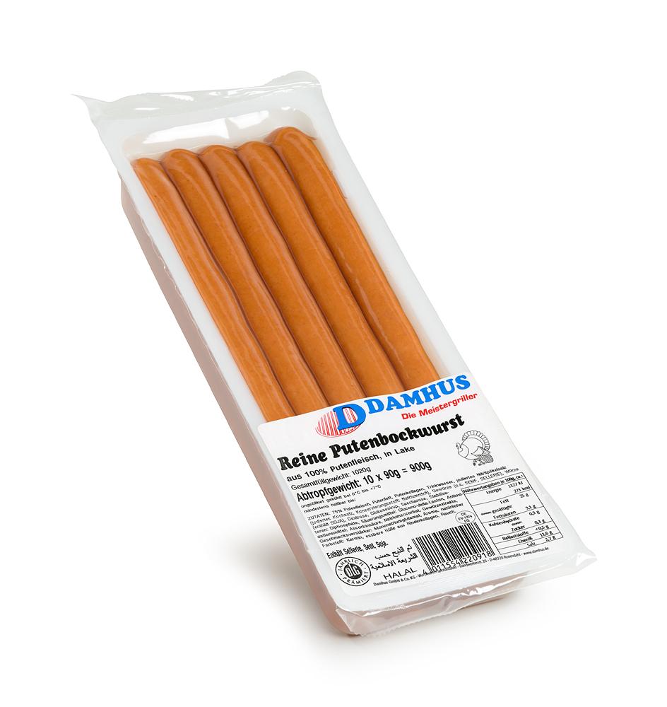 Damhus Putenbockwurst, 10x90g, EWS-Hülle